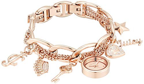 Juicy Couture Black Label Women's  Swarovski Crystal Accented Rose Gold-Tone Charm Bracelet - Juicy Couture Crystal Rose