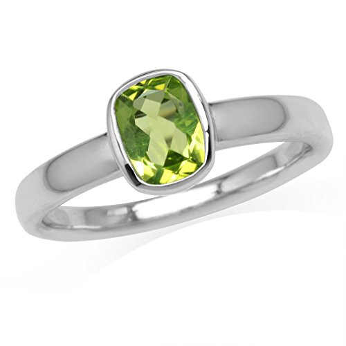 7x5MM Natural Cushion Shape Peridot White Gold Plated 925 Sterling Silver Bezel Set Solitaire Ring Size 6