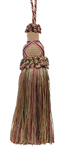 Decorative 5.5 Inch Key Tassel, Light Champagne Gold, Cherry Red and Light Olive Green Imperial II Collection Style# KTIC Color: BERRY PATCH - 4260 ()