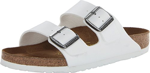 (Birkenstock Arizona Unisex Leather Sandal, White/White, 44 M EU)