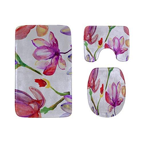 (Bath Mat Sets Purple Papaver Watercolor Patterns Contour Rug U-Shaped Toilet Lid Cover,Non Slip,Machine Washable,3-Piece Rug Set Easier to Dry for Bathroom)