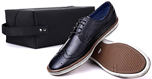 Mio Marino Mens Dress Shoes - Moda Casual Oxford Scarpe Per Uomo Tondo Abito Claviko - Nero