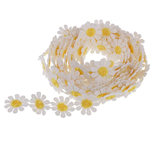Baoblaze 3 Yard 25mm Daisy Sun Flower Decorating Lace Trims Ribbon Embroidered Applique Patches For Sewing and Art Craft Projects (White Yellow)