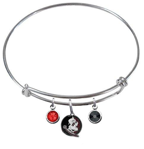 Florida State Seminoles FSU New Logo Expandable Wire Charm Bracelet Bangle w/ Team Color Crystals (Florida State Logo Seminoles Charm)