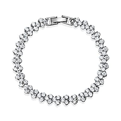 "A TE® ""Snow"" Tennis Bracelet Cubic Zirconia Diamond White Gold Plated Mother's Day Gifts for Mom 7"" B03"
