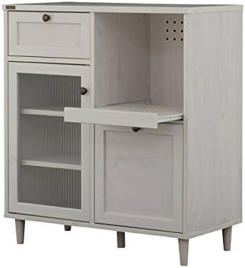 レンジ台 幅80cm 引き出し2杯 ガラス扉 食器棚 棚 スライド棚 木製 カントリー/ホワイト