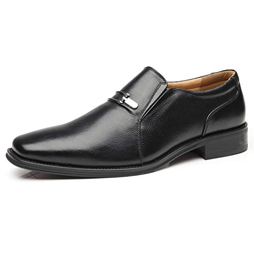 La Milano Men's Slip On Loafers Business Casual Comfortable Classic Leather Dress Shoes for Men (Black Leather Slip On Shoes For Men)