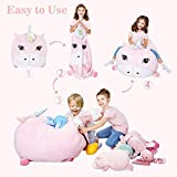 Chener Unicorn Stuffed Animals Storage Bean Bag Chair Cover for Kids, 22x28 Inch Soft Velvet Plush Stuffed Animal Hammock Holder Toy Organizers for Children Unicorn Room Decor for Baby Girls