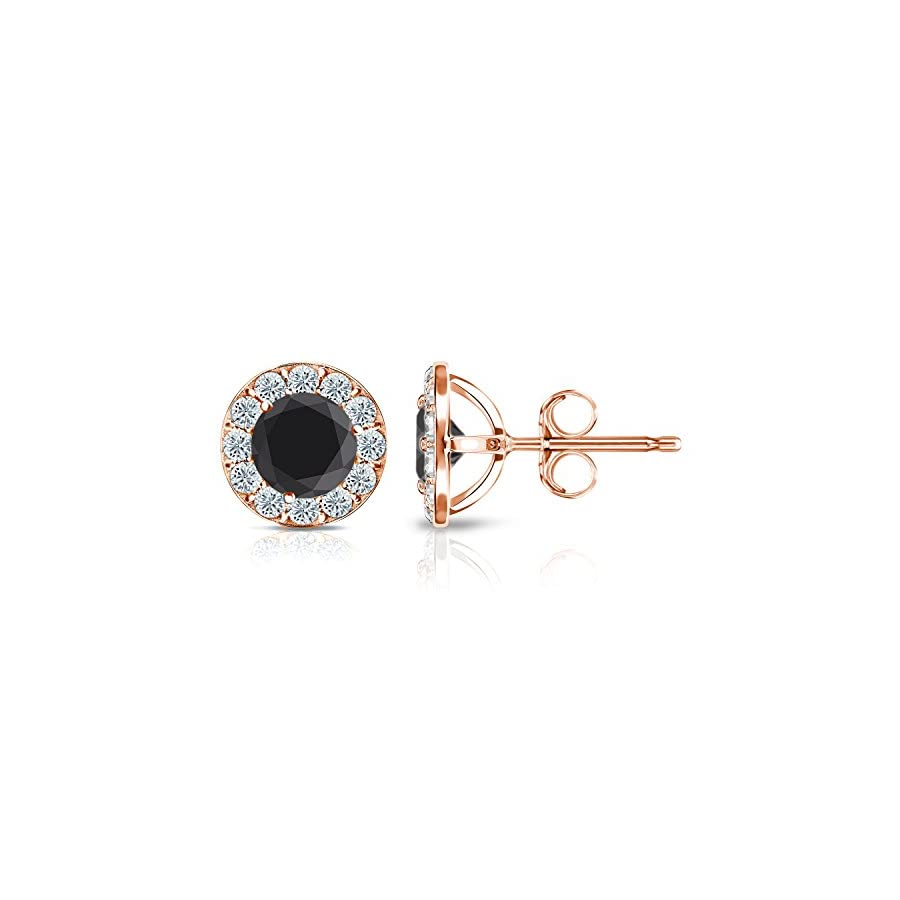 14k Gold Halo Round Black Diamond Stud Earrings (1/4 3 ct, Black, H I, SI1 SI2) Push Back