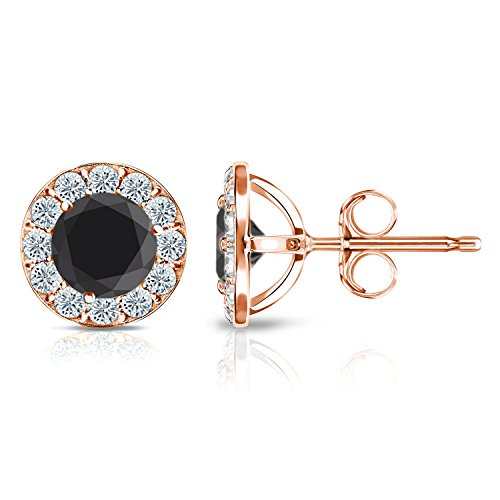 14k Gold Halo Round Black Diamond Stud Earrings (1/4 3 ct, Black, H I, SI1 SI2) Push Back