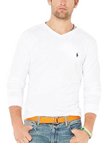 Polo Ralph Lauren Mens Long Sleeve V-Neck T-Shirt White Solid Large L