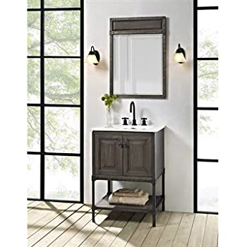 Fairmont Designs 24 Inch Toledo Open Shelf Vanity - Driftwood Gray on gray marble subway tile bathroom, fairmont design furniture collections, fairmont designs vanity napa farmhouse, 1930 farmhouse style bathroom,