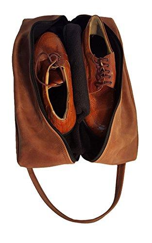 TPK Full Grain Leather Premium Shoe Bag (Ebony Black) by TPK (Image #4)