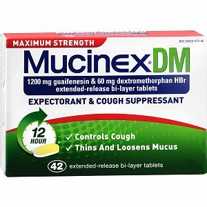 Mucinex DM Maximum Strength 12-Hour Expectorant and Cough Suppressant Tablets, 42 ct (Pack of 6)