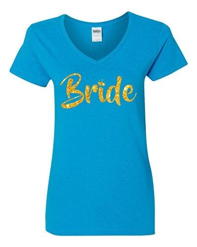 Women's Bride Gold Script Women's V-Neck T Shirt (Light Blue,S)