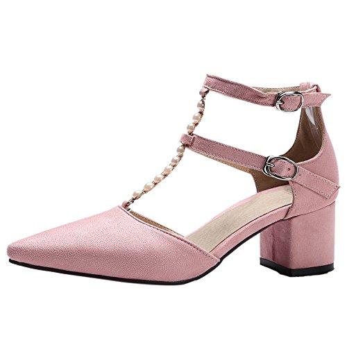 Mee Chaussures Bloc Charme Des Femmes Femme Talon Escarpins Boucle De Bride À La Cheville Mi Talon Rose
