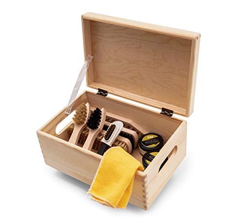 Kit d'entretien de chaussures Kit en bois Boîte à valets style Verona, crème à chaussures à base d'eau Kaps avec brosses… 1