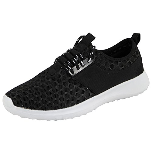 Ladies Running Trainers Womens Fitness Gym Sports Nike Juvenate Inspired Shoes 3-8 BLACK NEW