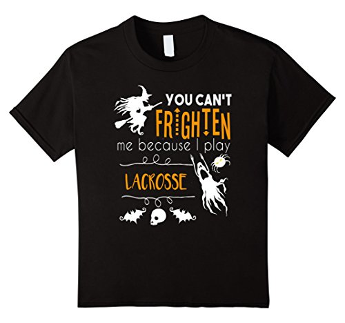 Kids You can't frighten me lacrosse sports Halloween t-shirt 12 Black