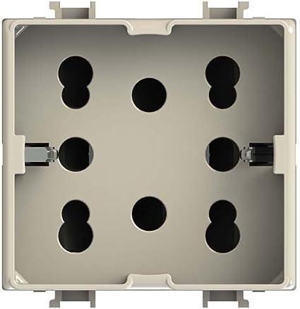 Presa Multistandard 1 Schuko o 2 Bipasso Compatibile con Bticino 4Box 4B.L.H21