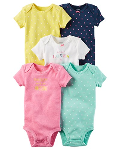 Carters Dot (Carter's Baby Girls' 5-Pack Multi Dot Bodysuits 9 Months)