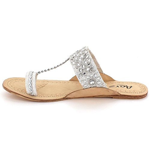Womens Toe Ladies Slip Sandals Chappal Post Silver Kolhapuri Casual Flat Size Shoes Authentic On Leather Comfort rrdwzX