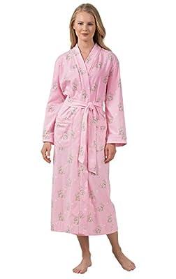 PajamaGram Women's Cotton Sleepwear Ladies Soft Printed Long Robe
