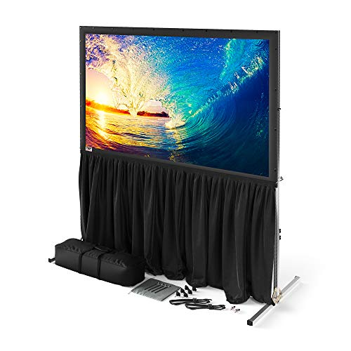 Projector Screen with Stand or Wall Mount - 2 in 1 Indoor Outdoor Movie Screen - Premium Portable Projection Screen 100 inch HD 16:9 - Metal Fast Foldable Large Frame - Theater Skirt - Outdoor Kit
