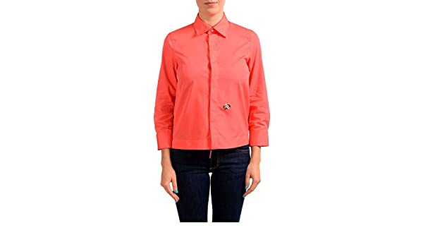 6a2d8b5f9 Amazon.com: Dsquared2 Coral Red 3/4 Sleeve Women's Button Down Shirt US S  IT 40: Clothing