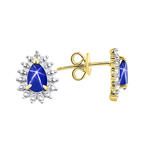 Diamond & Blue Star Sapphire Earrings In Yellow Gold Plated Silver .925 by Rylos