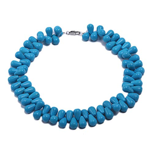 JYX Double-strand 12x18mm Blue Drop Shape Turquoise Necklace Handmade Gemstone 17