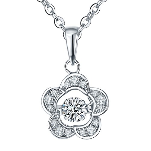 Flower Necklace for Women-YL Dancing Diamond Sterling Silver Cubic Zirconia Flower Pendant Necklace Girls (Flower Pendant Bracelet)