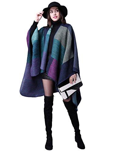 ADOMI Womens Winter Elegant Reversible Oversized Blanket Poncho Cape Shawl Cardigans Purple-3