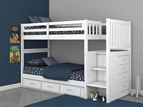 Twin Over Twin Stair Stepper Bed with 3 Drawers in White Finish