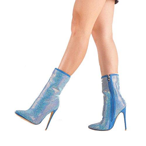Heel High Stiefelette Stiletto Onlymaker Besetzt mit Blau Damen Strasssteinen Spitze nSqRnpI