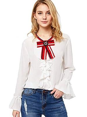 SheIn Women's Bow Tie Neck Ruffle Long Sleeve Chiffon Shirt Blouse Top