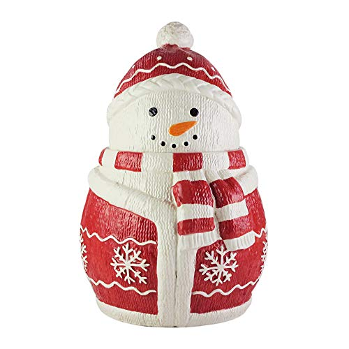 American Atelier Holiday Cookie Jar – Winter Snowman Ceramic Jar Canister with Airtight Lid for Cookies, Candies, Chocolates, Coffee, Tea & More – Unique Gift Idea for Christmas or Birthday – Large (Cookie Ceramic Lid With Jar)