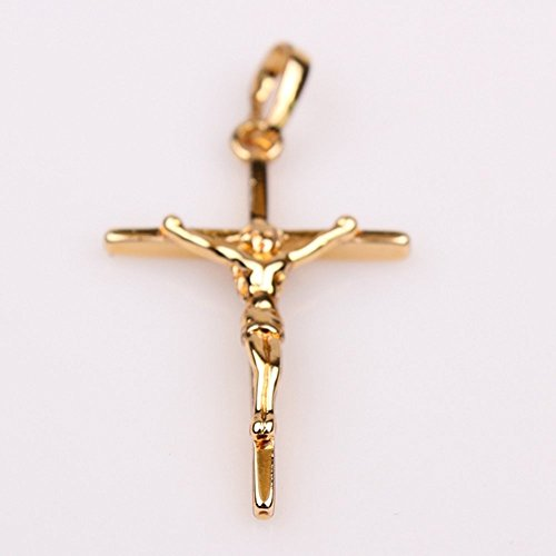 24k gold plated necklace jesus christ crucifix cross pendant chain