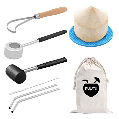 - Coconut Opener Set for Young Coconut Opener Kit by FANATU – Premium Food Safe Stainless Steel Coconut Opener Tool & Hammer – Coconut Meat Remover & Straws & Brush & Silicone Mat - ALL IN ONE Carry Bag