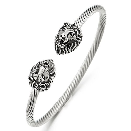 Mens Steel Vintage Lion Head Twisted Cable Cuff Bangle Bracelet Silver Color Polished, Adjustable