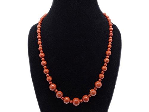 jennysun2010 Handmade Natural Red Jasper Gemstone Beads 4~12mm Graduated Adjustable Necklace Healing (18'' Adjustable up to 30'') -