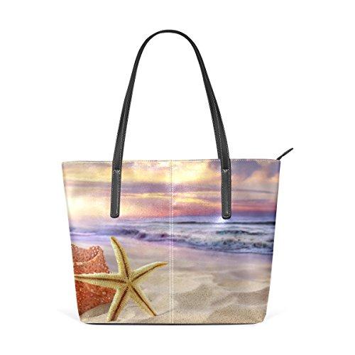 COOSUN Las estrellas de mar de la PU de cuero bolso monedero y bolsos de la bolsa de asas para las mujeres Medio muticolour