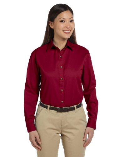 Devon & Jones Ladies Long-Sleeve Titan Twill - CRIMSON - - Pocket Titan Shirt