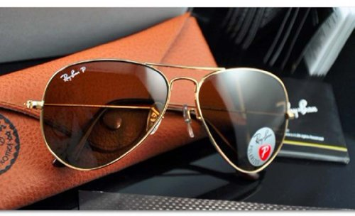 NEW POLARIZED RAY-BAN AVIATOR SUNGLASSES GOLD w/CRYSTAL BROWN RB3025 001/57 58MM
