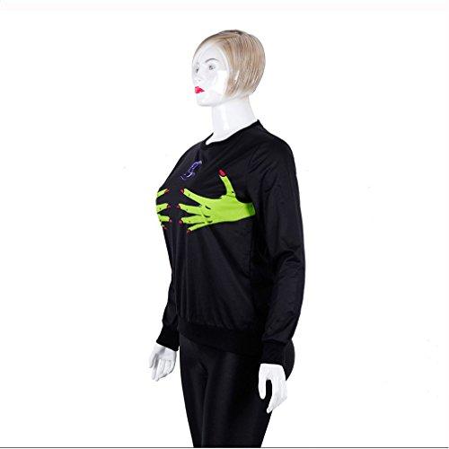 Sweat Haut Loose À Punk Avec Halloween Polyester Black Imprimé Longues Capuche Manches rrqpEZx