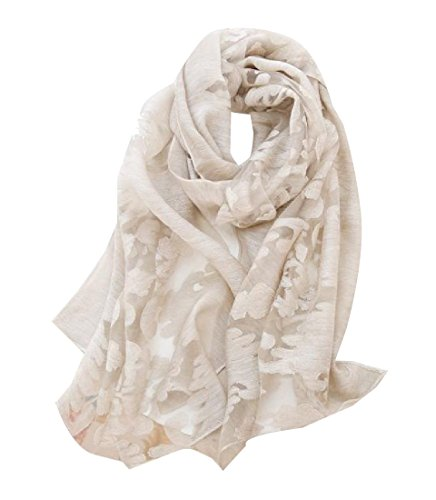 ANDYOU Women All-Match Shawl Lace Trim Solid Comfortable Scarf White One-Size