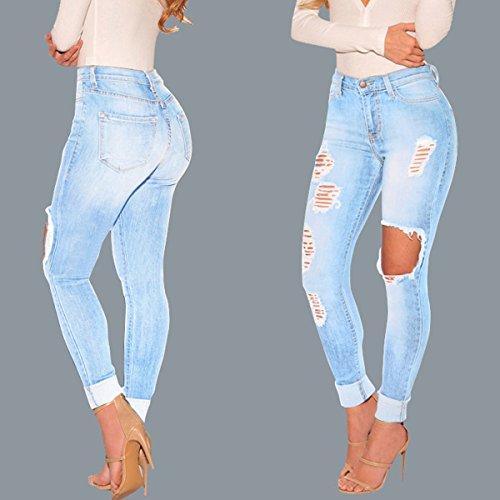 Azul Vaqueros Rasgados Afligido Polainas Estilo Mujer Apretado Vaqueros Tramo Lavado LáPiz De Pantalones Azul Del Flaco Lanmworn Claro Pantalones Agujero Casual Destruido Pantalones AzqRtw