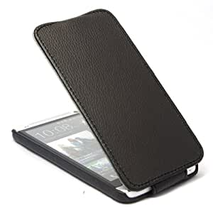 Litchi Leather Flip Case Cover for HTC One M7 Black + 1 Gift