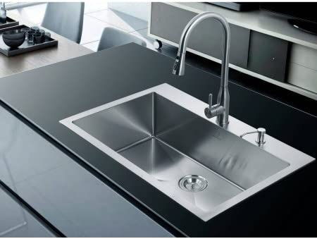 Nationalware 18-gauge Stainless Steel 33 Single Basin Overmount Kitchen Sink