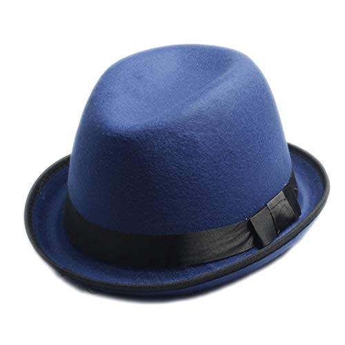 DOSOMI Men Women Wool Felt Fedora hat Felt Floppy Ribbon Band Unisex Panama Jazz hat Gangster Cap,Light Blue